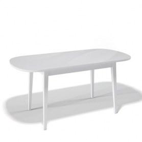 Кухонный раздвижной стол Kenner 1300M (Белый/Стекло белое глянец)