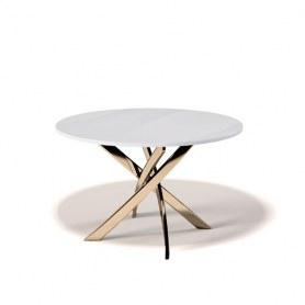 Кухонный стол Kenner R1200 (Золото/Стекло белое глянец)