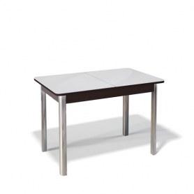 Кухонный раздвижной стол Kenner 1100S (Хром/Венге/Стекло белое глянец)