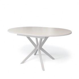 Кухонный раздвижной стол Kenner B1300 (Белый/Стекло крем глянец)