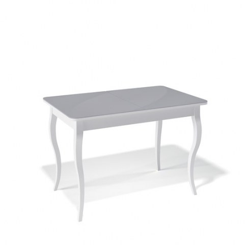 Кухонный раздвижной стол Kenner 1100C (Белый/Стекло серое сатин)
