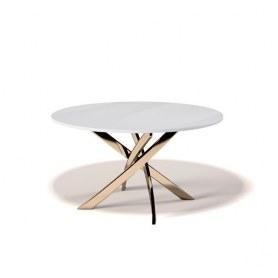Кухонный стол Kenner R1300 (Золото/Стекло белое глянец)