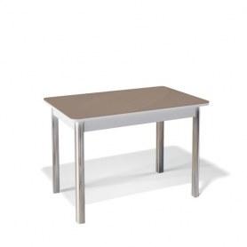 Кухонный раздвижной стол Kenner 1100S (Хром/Белый/Стекло капучино глянец)