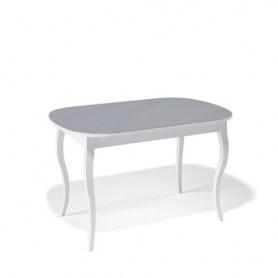 Кухонный раздвижной стол Kenner 1300C (Белый/Стекло серое глянец)