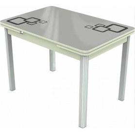 Кухонный раздвижной стол Пекин исп.2 хром №11, Рисунок квадро (стекло белое/черный/белый)