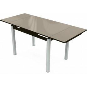 Кухонный раздвижной стол Шанхай исп.1 хром №10 (стекло молочное/венге)
