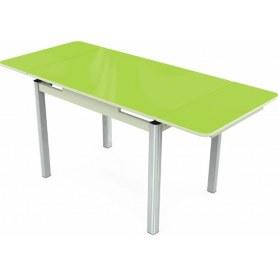 Кухонный раздвижной стол Пекин исп.2 хром №11 (стекло зеленое/белый)