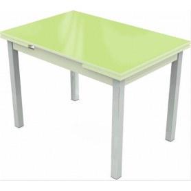 Кухонный раздвижной стол Шанхай исп.1 хром №10 (стекло зеленое/белый)