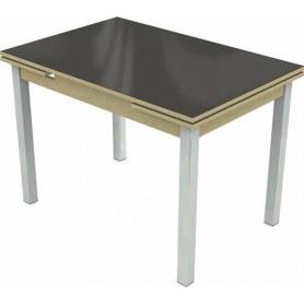 Кухонный раздвижной стол Шанхай исп.2 хром №10 (стекло коричневое/дуб выбеленный)