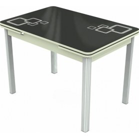 Кухонный раздвижной стол Пекин исп.1 хром №11, Рисунок квадро (стекло черное/белый/белый)