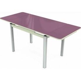 Кухонный раздвижной стол Пекин исп.2 хром №11 (стекло сиреневое/белый)