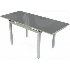 Кухонный раздвижной стол Шанхай исп.2 хром №10 (стекло серое/светло-серый)