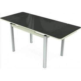 Кухонный раздвижной стол Пекин исп.1 хром №11 (стекло черное/белый)