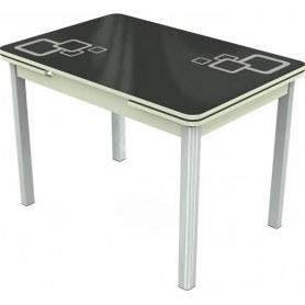 Кухонный раздвижной стол Пекин мини хром №11, Рисунок квадро (стекло черное/белый/белый)