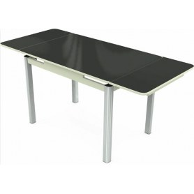 Кухонный раздвижной стол Пекин исп.2 хром №11 (стекло черное/белый)