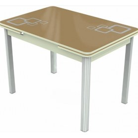 Кухонный раздвижной стол Пекин исп.1 хром №11, Рисунок квадро (стекло капучино/белый/белый)