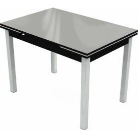 Кухонный раздвижной стол Шанхай исп.2 хром №10 (стекло белое/черный)