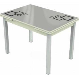 Кухонный раздвижной стол Шанхай исп.1 хром №10, Рисунок квадро (стекло белое/черный/белый)