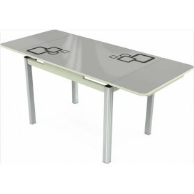 Кухонный раздвижной стол Пекин исп.1 хром №11, Рисунок квадро (стекло белое/черный/белый)