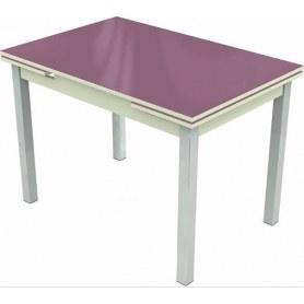 Кухонный раздвижной стол Шанхай исп.2 хром №10 (стекло сиреневое/белый)