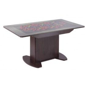Обеденный стол Айсберг-02 тумба СТФ, венге, стекло ягоды, МДФ
