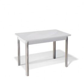 Кухонный раздвижной стол Kenner 1100S (Хром/Белый/Стекло белое глянец)