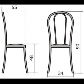 Кухонный стул В-1 хром, кожзам, бордовый