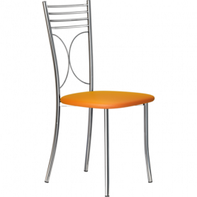 Кухонный стул Б-205 хром, кожзам, оранжевый