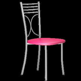 Кухонный стул Б-205 металлик, кожзам, розовый