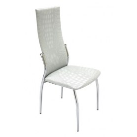 Кухонный стул В-610 СТ хром люкс/крок белый глянц