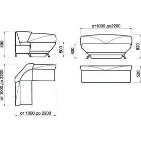 Кухонный угловой диван Лагуна 2, (1,2х1,2 м)