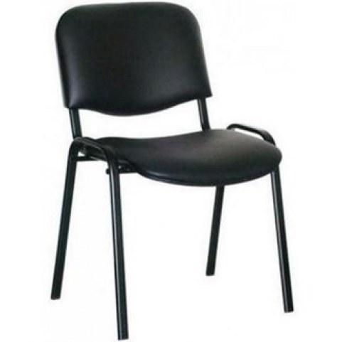 Офисный стул ИЗО каркас черный, черный кожзам