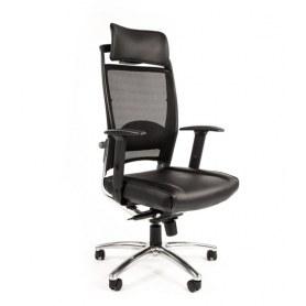 Офисное кресло Chairman Ergo 281 chrome кожа+PU/черный, хромированная крестовина