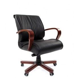 Офисное кресло CHAIRMAN 444 WD, кожа, цвет черный
