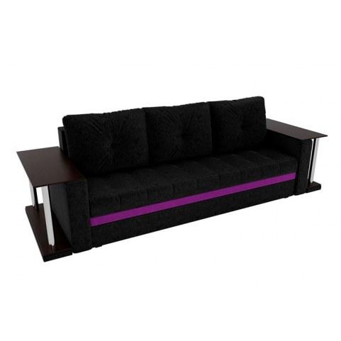 Прямой диван Атланта М 2 стола, Черный/фиолетовый (вельвет)