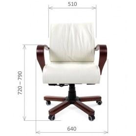 Офисное кресло CHAIRMAN 444 WD, кожа, цвет белый