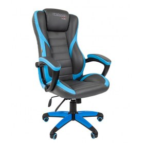 Кресло CHAIRMAN GAME 22 эко кожа, серый/голубой