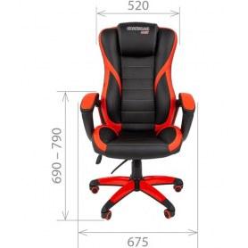 Кресло CHAIRMAN GAME 22 эко кожа, черный/красный