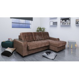 Угловой диван Лео КИТ-22 с оттоманкой, подлокотники с ящиками, декор дерево