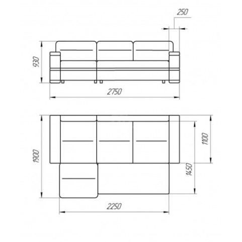 Угловой диван Лео КИТ-16  с оттоманкой (без подголовников)