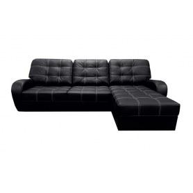 Угловой диван Монреаль, цвет Monaco Black (кожзам)