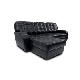 Угловой диван Сидней, цвет Monaco Black (кожзам)