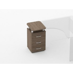 Тумба приставная на 3 ящика, с проставками Glassy 3.10.17 цвет дуб Верцаска 420х500х750