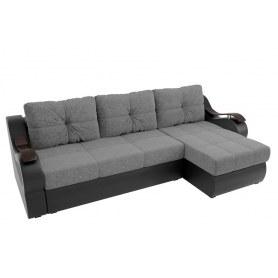 Угловой диван Меркурий, Серый/черный (рогожка/экокожа)