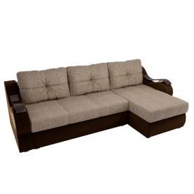 Угловой диван Меркурий, Корфу 02 (рогожка)/коричневый (вельвет)
