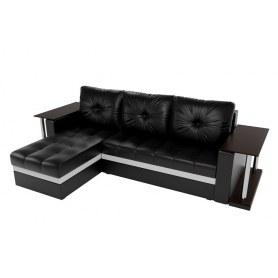 Угловой диван Атланта М 2 стола, Черный (экокожа)