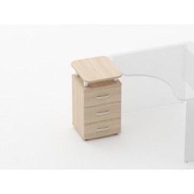 Тумба приставная на 3 ящика, с проставками Glassy 3.10.17 цвет Туя 420х500х750