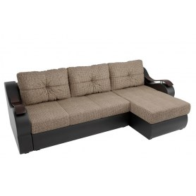 Угловой диван Меркурий, Корфу 02 (рогожка)/черный (экокожа)