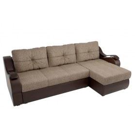 Угловой диван Меркурий, Корфу 02 (рогожка)/коричневый (экокожа)