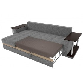 Угловой диван Атланта М 2 стола, Серый (рогожка)